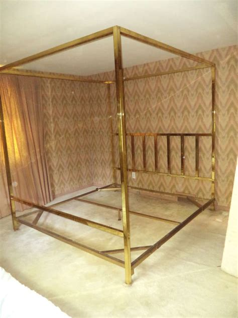 King Size 4 Poster Bed Frame King Size Brass Four Poster Canopy Bed By Pace At 1stdibs