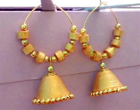 Jhumkas With Paper - quilling paper made ring jhumka in golden colour