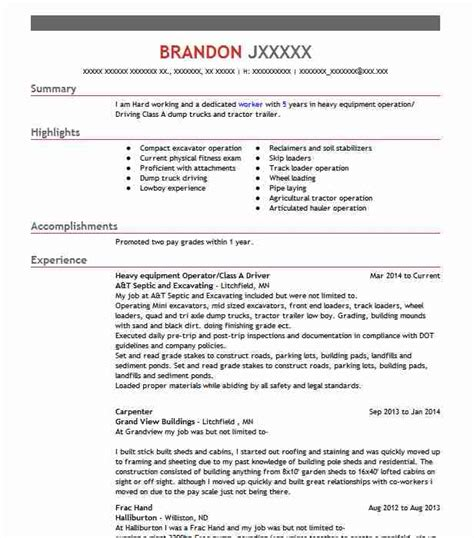 best heavy equipment operator resume 28 images heavy