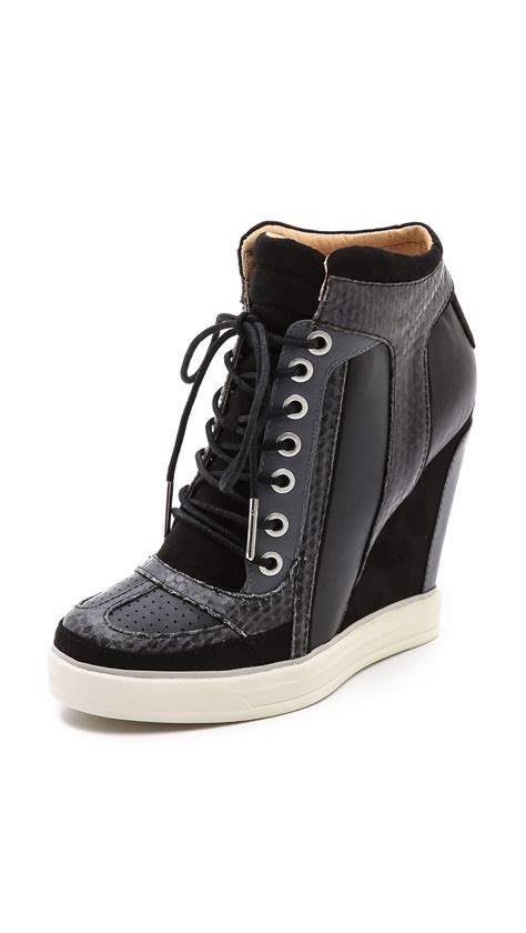 l a m b summer lace up wedge sneakers in black lyst