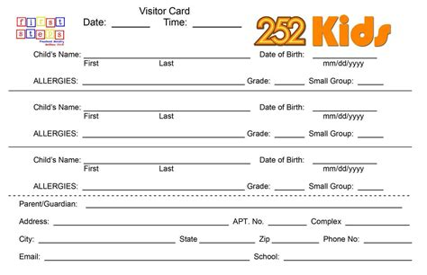Church Volunteer Info Registration Card Template by Time Guest Check In In Ministry Search