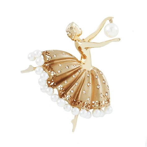 gold cultured pearl and ballerina brooch