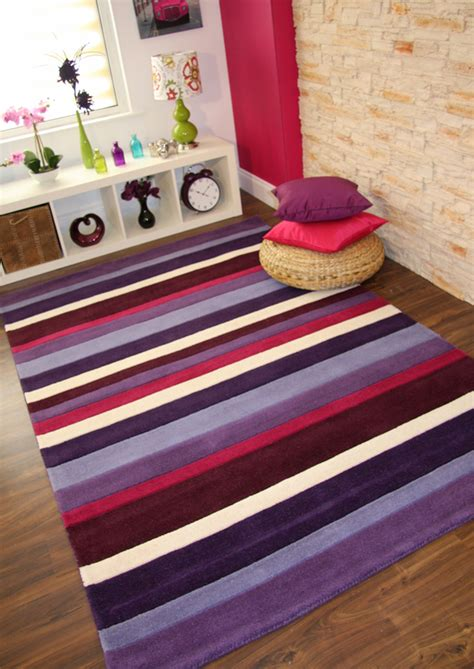 Bright Purple Aubergine Lilac Pink Modern Striped Thick Modern Wool Rugs Uk