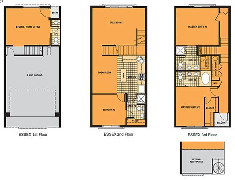 One Bedroom Floor Plans by Brownstone Square Contemporary Row Homes Single Family