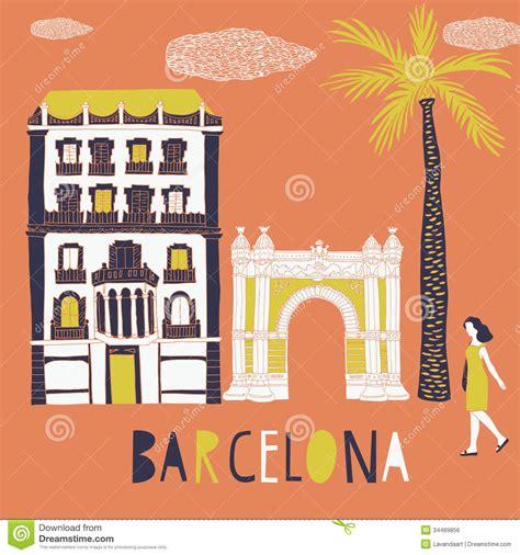 barcelona print design stock illustration image  urban