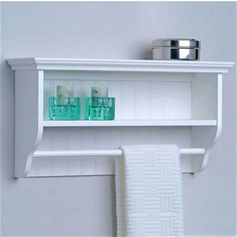 bathroom storage decorative wall shelf with towel bar by