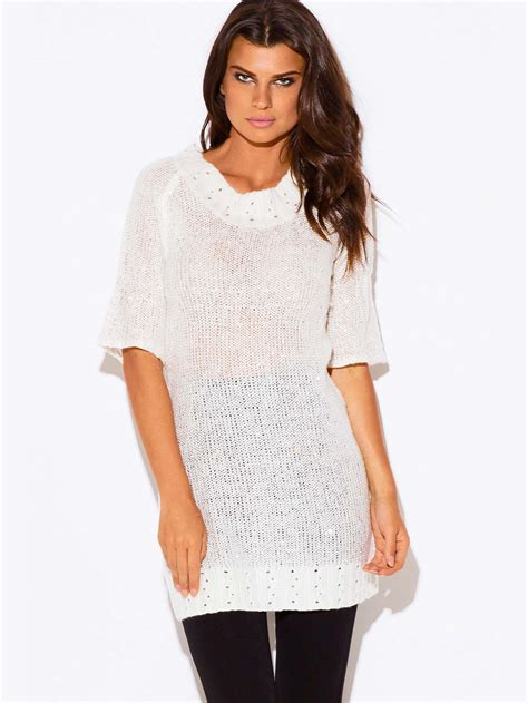 Sequined Knit Sweater ivory sequined sweater dress modishonline