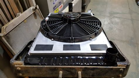 electric cooling fan with shroud 1936 plymouth streetrod custom radiator with electric fan