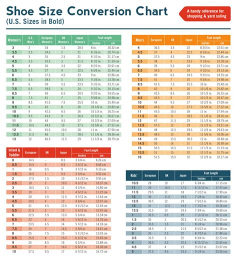 shoe size chart download download size conversion chart for free formtemplate