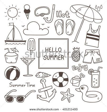 summer doodle free vector summer doodles summer icon set stock vector 401211400