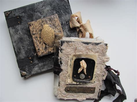 Handmade Paintings - handmade journals altered bits