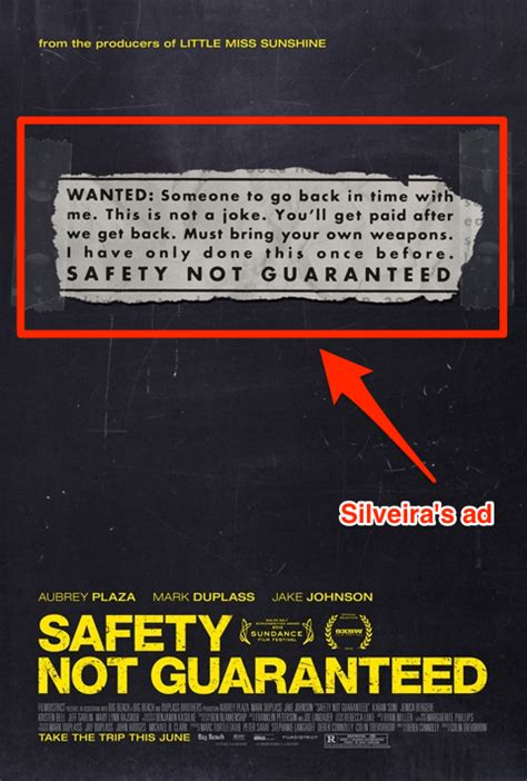 Safety Not Guaranteed Meme - the unbelievable backstory of the 18 year old classified
