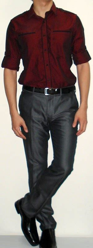 shirt grey suit black leather shoes