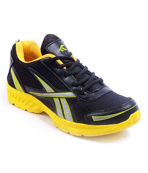 stunner cool black yellow sports shoes price in india