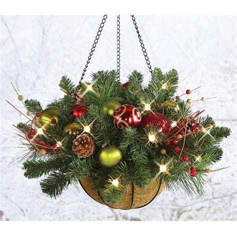 cordless pre lit christmas hanging basket 24 quot dia holiday