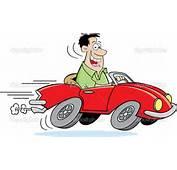 Homem Dos Desenhos Animados Dirigindo Um Carro — Vetor De Stock