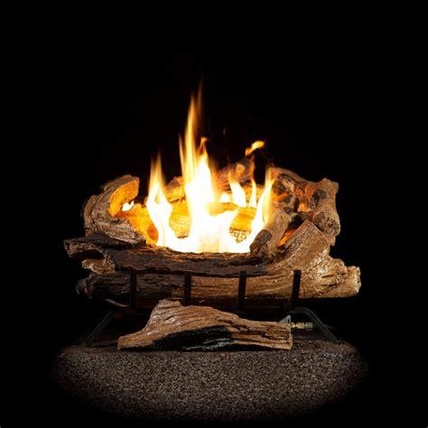 fireplace gas log inserts emberglow 18 in split oak vented gas log set so18ngdc the home depot