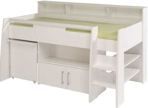White Mid Sleeper Bed by Parisot Swan White Mid Sleeper Bed With Pull Out Desk