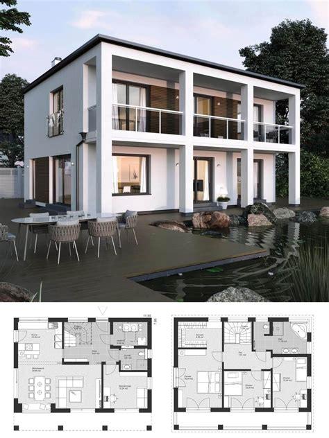 bauhaus stadtvilla modern grundriss mit flachdach