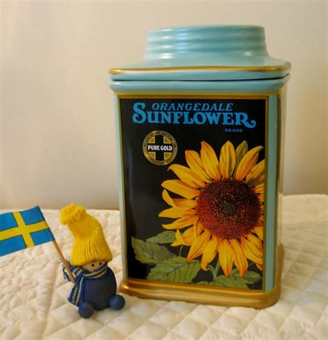 sunflower canisters for kitchen oneida vintage labels orangedale sunflower kitchen