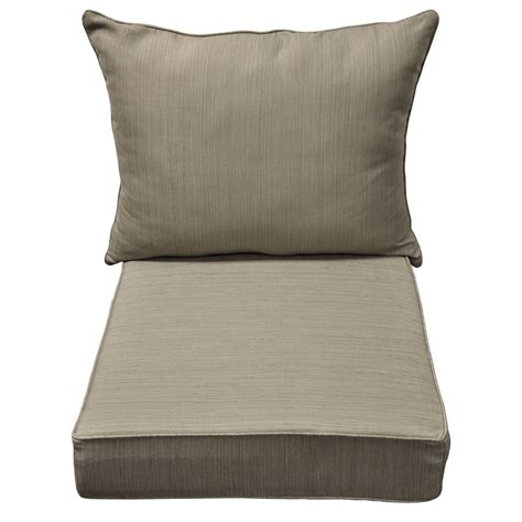 Shop Allen Roth Brown Tan Dining Patio Chair Cushion At Chair Cushions For Patio Furniture