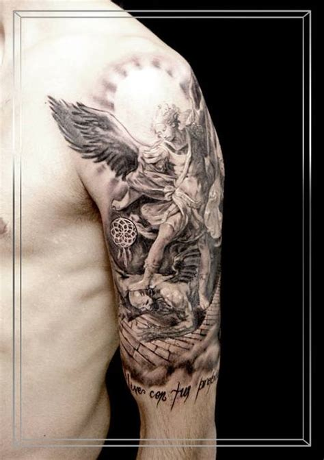 arcangel tattoos best grey ink archangel on half sleeve