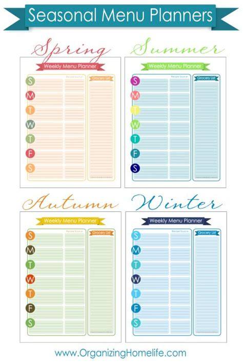 organized home printable menu planner 102 best home management planning images on pinterest