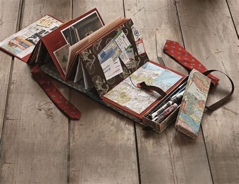 Handmade Books Ideas - a travel journal opens to reveal accordion folded pages