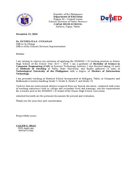 cover letter deped letter of intent deped
