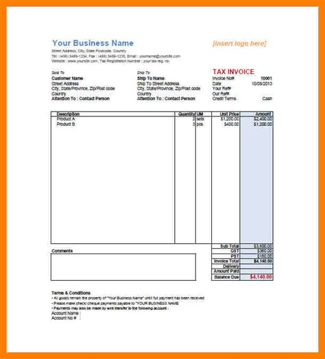 invoice template gst 7 gst bill format pdf produce clerk