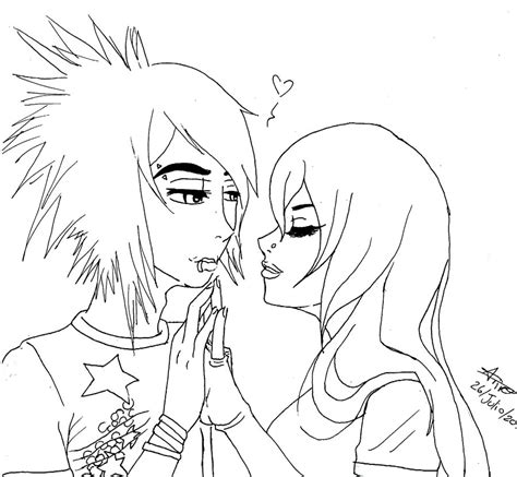 coloring pages emo love emo couple free comssion by ivando on deviantart