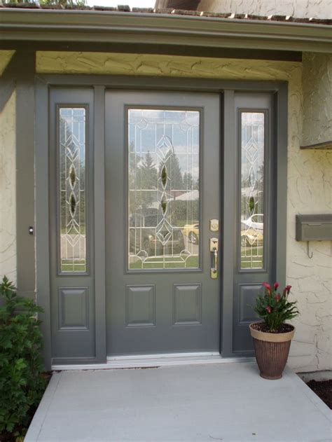 Calgary Exterior Doors Melbourne Glass Insert By Odl Slate Coloured Single Entry Door With Two Sidelites Doors