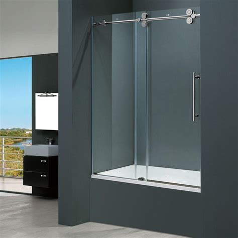 frameless shower doors for bathtubs vigo elan 60 in x 66 in frameless sliding tub door in