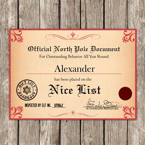 santa nice list certificate www imgkid com the image