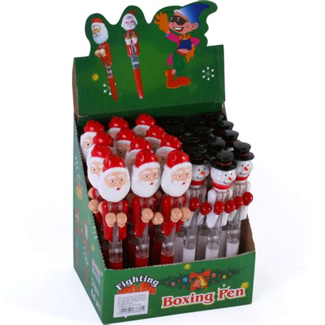 24 x santa snowman christmas boxing pens with led eyes