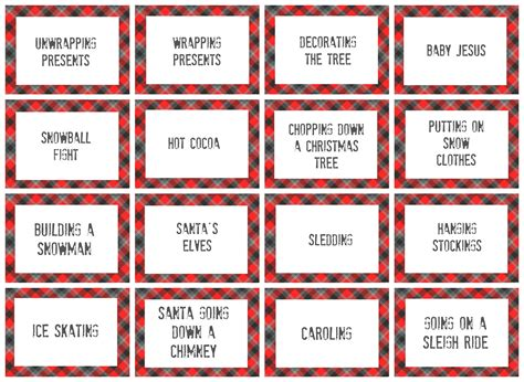 printable charades cards christmas pictionary word list christmas decore