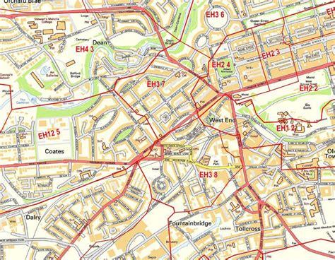 edinburgh postcode wall map city sector map