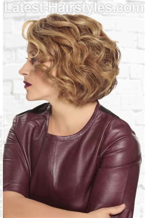 jagged layered bobs with curl short curly bob hairstyle with layers side view love this