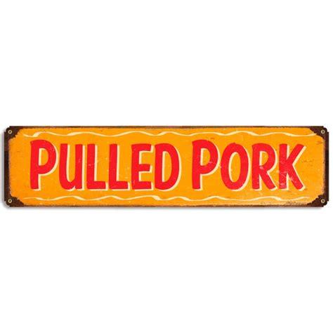 pulled pork metal sign barbecue rustic vintage bbq kitchen