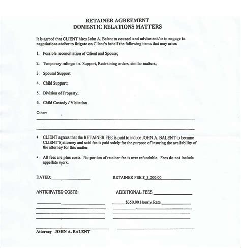 retainer fee agreement template beware of attorney balent