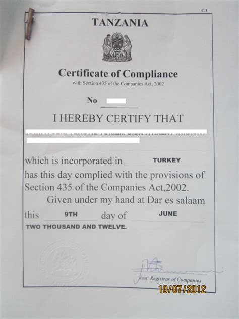 certification letter for tin number tanzania investment centre