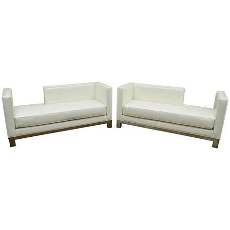 modern white chaise lounge pair of j a casillas modern white vinyl and brushed metal