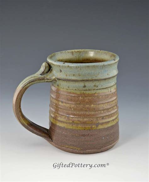 Handmade Mugs - handmade pottery mug oasis glaze 12 oz giftedpottery