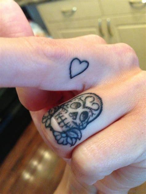 skull heart tattoo 50 great finger tattoos