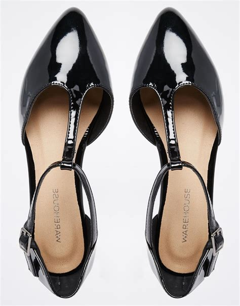 t bar flat black shoes warehouse patent t bar flat shoes in black lyst