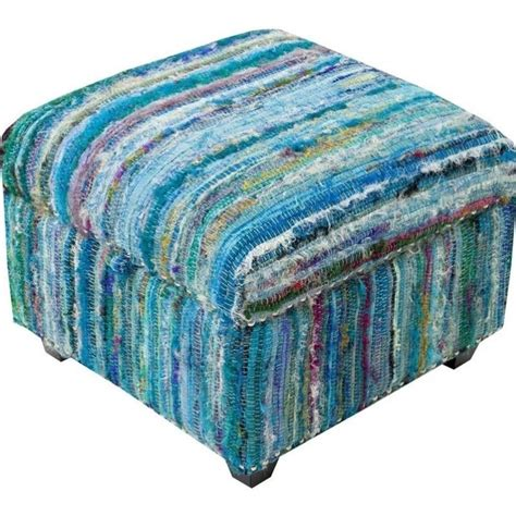 ottoman silk surya saturday night silk nailhead cube ottoman in blue