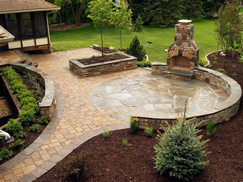 Stone fireplace and NY Bluestone flagstone & paver patio