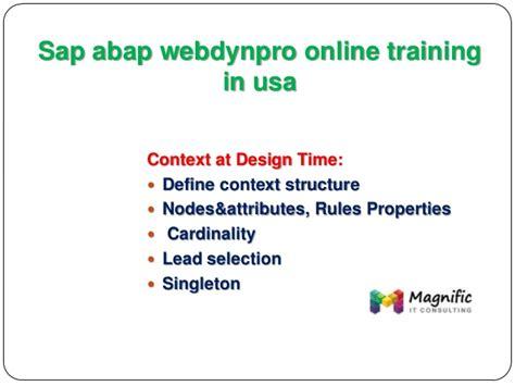 online tutorial in usa sap abap webdynpro online training in usa