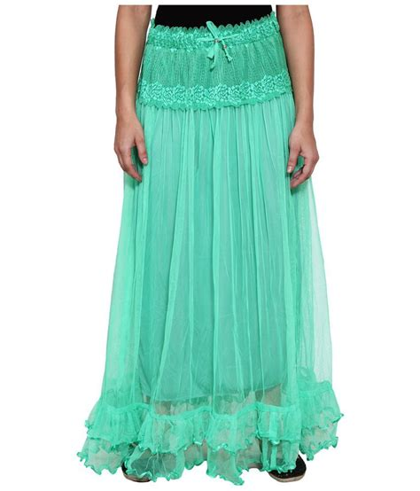 buy numbrave green net maxi skirt at best prices in