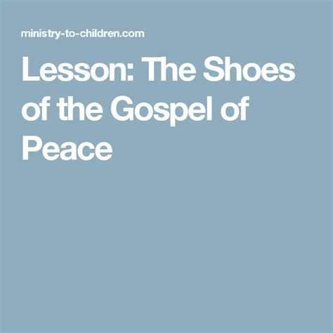 shoes of peace lesson for lesson the shoes of the gospel of peace children s